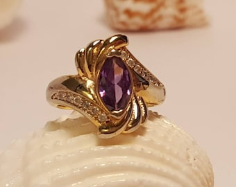 Vintage Amethyst Marquis Ring, CZ Accents, Fan Style Size 5.5, Gifts for Her