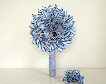 Blue origami - blue origami bouquet wedding bouquet wedding vase - origami bouquet marine style