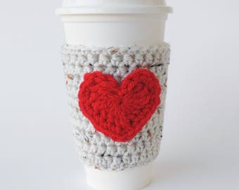 Cup Sleeve - Coffee Cozy - Oatmeal with Red Heart