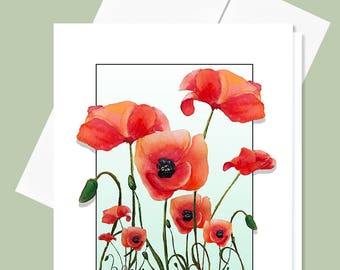 Poppies Greeting Card, 4x5 Blank Card