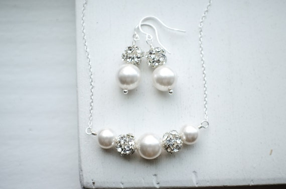 Bridal Pearl Set | Sterling Silver Necklace & Earrings | Classic Wedding Jewelry | White Pearls | Beaded Crystal Necklace | Bridesmaid Gifts