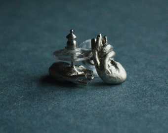 medium HUMAN HEART as earrings or posts, studs. Solid sterling silver. Oxidized or satin white finish. Cute. Simple. Woman. Valentine. Love.