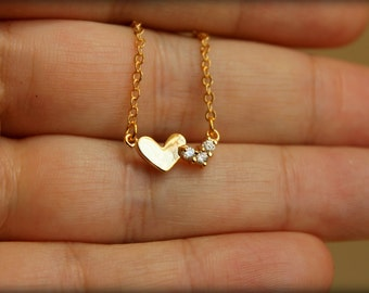 Two Hearts Necklace, Available in Silver and Gold