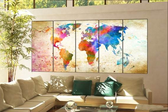 world map office decor  print on canvas wall art world map office decor Print artwork large world map office decor home decoration 5 panel