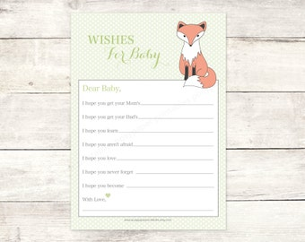 wishes for baby shower printable baby fox DIY green polka dots woodland card cute baby shower digital games - INSTANT DOWNLOAD