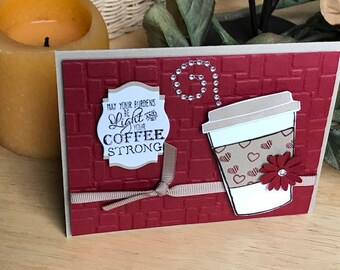 Coffee themed note card, Coffee note card, Coffee card