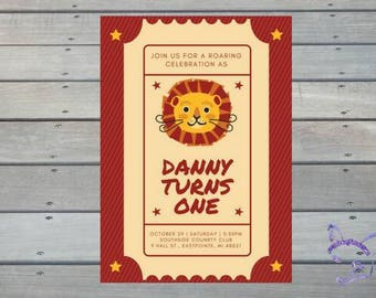 Lion Circus Ticket Cute Kid Downloadable Personalized HiRes PDF Print Yourself Birthday Invitation