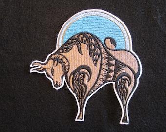 Taurus Embroidered Iron On Patch, Zodiac Patch, Taurus applique, Iron ON Patch, Taurus Applique, Horoscope, odiac Sign Taurus