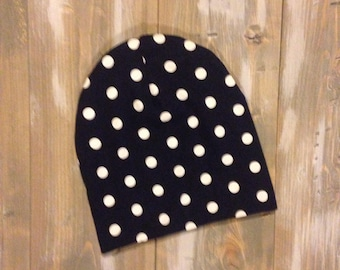 Slouchy Toque | Slouchy Beanie | Baby and Toddler | Navy with White Polka Dot