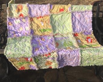 Baby quilt - baby rag quilt - nursery quilt - jungle quilt - animal quilt - pastel quilt - crib quilt - #136