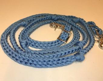 Light blue reins, light blue barrel reins, horse tack , paracord reins, braided reins, reins with grip knots, barrel racing, horse tack