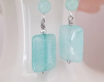 Aqua Quartzite Earrings