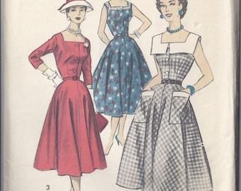Advance Pattern # 8028 1956 Dress with Square Neckline