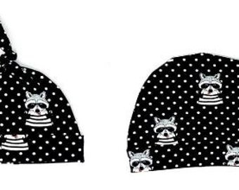 Raccoon Top Knot Hat/Band Beanie/Bib