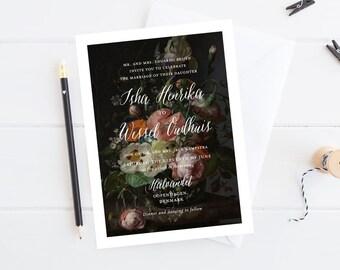 Dark Floral Dutch Art Wedding Invitation