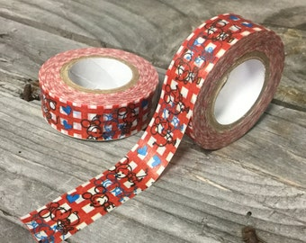 Washi Tape - 15mm - Mouse Sketches on Red Gingham - Deco Paper Tape No. 896