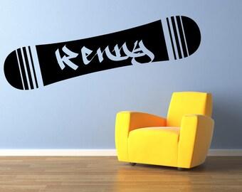 "Snowboard Name Monogram wall decal vinyl graphics 46""x10"" Home Decor"