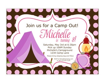 Camping Invitation - Pink and Brown Polka Dots, Purple Camping Tent, Camping Personalized Birthday Party Invite - a Digital Printable File