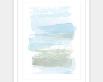 Digital print, abstract watercolor abstract painting print, peaceful blue and green art, ocean colors office art home decor