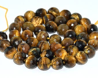"6MM Faceted Tiger Eye Natural Gemstone Full Strand Round Loose Beads 15"" (100822-335)"
