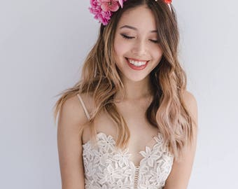 bright spring flower crown // spring racing flower headpiece / spring carnival headpiece / spring races flower fascinator / spring headband