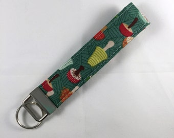 Key Fob Wristlet, Mushroom Fabric Keychain, Handmade Key Fob, Sweet 16 Gift