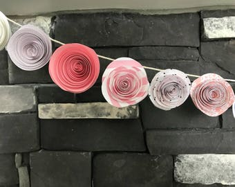 Shabby chic paper flower garland, pink, polka dot,