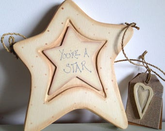 Star - You're a Star - Wooden - Large (16 cm) East of India