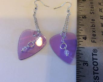 Upcycled cd pick earrings, long dangle with a crystal for extra sparkle great gift for the muscian