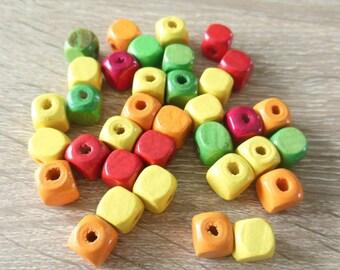 set of 35 wood beads