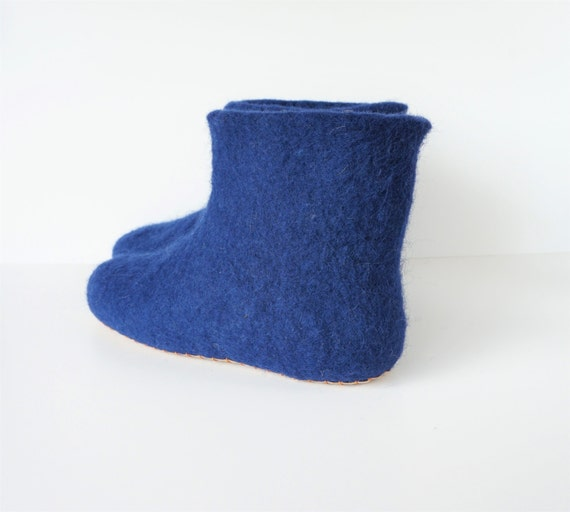 3dee3188c6c90 booties wool blue wool wool home slippers navy slippers felted ...