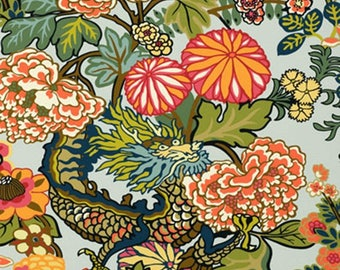 Chiang Mai Dragon Wallpaper in Aquamarine Schumacher Wallcovering, Chinoiserie Style Chinese Dragon