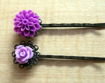 Mom and Baby flower bobby pin - Mum and baby rose any 2 pair or 4 pcs