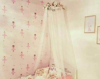 Custom Handmade Floral Cot/Bed Canopy (1 Colour) Nursery Decor