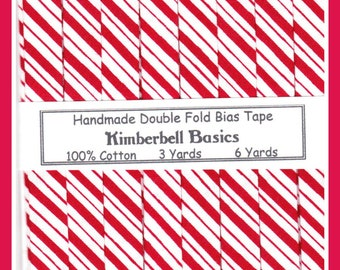 Luscious Red and White Stripe Handmade Double Fold Bias Tape - Like Peppermint Candy!