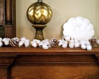 Cotton Garland, Cotton Boll Garland, Faux Cotton Garland, Cotton and Pine Cone Garland, Farmhouse, Rustic