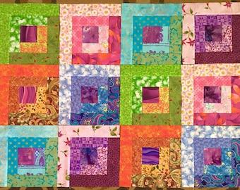 12 BRIGHT LOG CABIN Quilt Blocks Squares 100% cotton