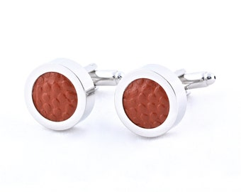 Authentic Basketball Silver Cufflinks - (((Made with a REAL basketball)))   Jewelry Box