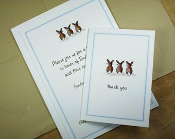 Bunny Tail Set. Custom Invitations with Matching Thank You Notes. Bunnies Customized. 10 Invites, 10 Thank Yous