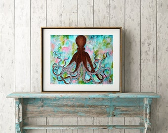 Octopus Art Print, Mixed Media, Coastal, Underwater Love, Wall Decor, Sea Life, Ocean, Nursery Art, Boy's Room, Nautical