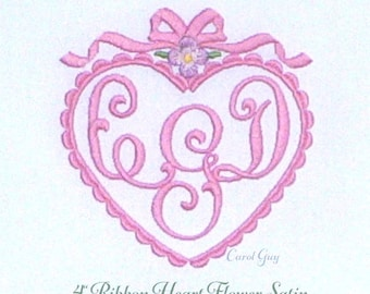 """1703 """"Four Inch Ribbon Heart Flower Satin"""" is a Carol Guy exclusive digital embroidery file."""