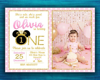 Minnie Mouse Birthday Invitations-Polka Dots-Oh Toodles-Photo-First Birthday-Pink and Gold Minnie Mouse-First Birthda-Party Invitation