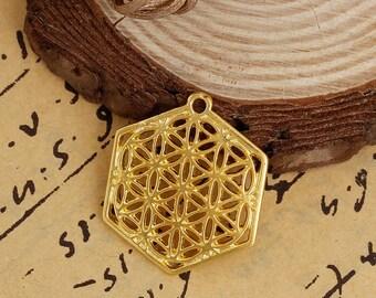5 pendants in the shape of Hexagon / flower of life gilt 2.9 cm