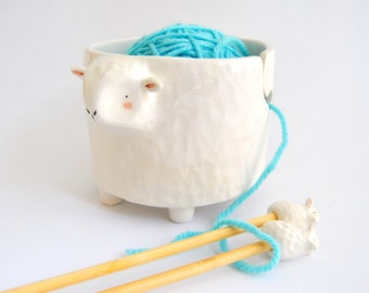 Special Offer. Set of White Sheep Ceramic Yarn Bowl and Matching Bamboo Sheep Needles. Made To Order