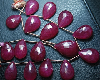 201 Carats, 8 Inch Strand,Superb-Finest Quality AAA Quality Dyed Ruby Faceted Pear Shape Briolettes, 11--15mm size