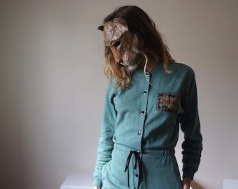Sportswear jumpsuit 90s Celadon Jade Green / French vintage Sweatshirt Jogging pants overalls romper pantsuit // Size S