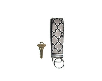 Black and Gray Quatrefoil Fabric Wristlet Key Chain