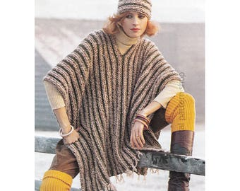 Poncho and Hat Knitting Pattern, Blanket Poncho Striped Fringed Cape and Cap Pattern Womens PDF Instant Download - K117