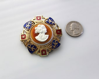 Unsigned 1970s   HERALDIC Cameo  brooch/ Pendant   #407