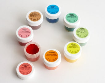 Powder Food Coloring Kit - Set of 8 (Includes Pro Uses by Cakegirls) 4 oz Each - Red Orange Yellow Green Blue Pink